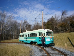 A DC Transit street car is one of a dozen or more that provides rides for groups at the National Capital Trolley Museum in Maryland.