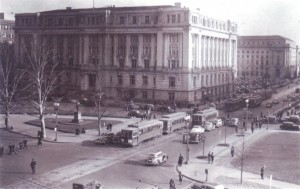 Street cars running on 14th Street in District. General Motors and other firms lobbied hard to have their buses replace street cars.