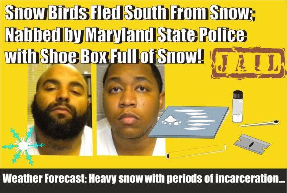 Snowbirds caught headed south near Pocomoke City with cocaine