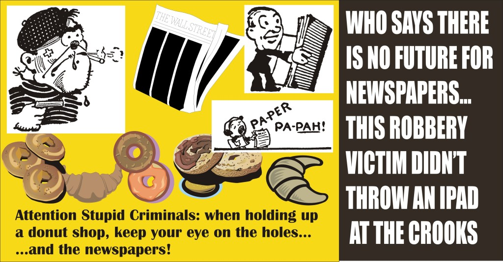 Donut shop clerk tossed newspapers at gunmen