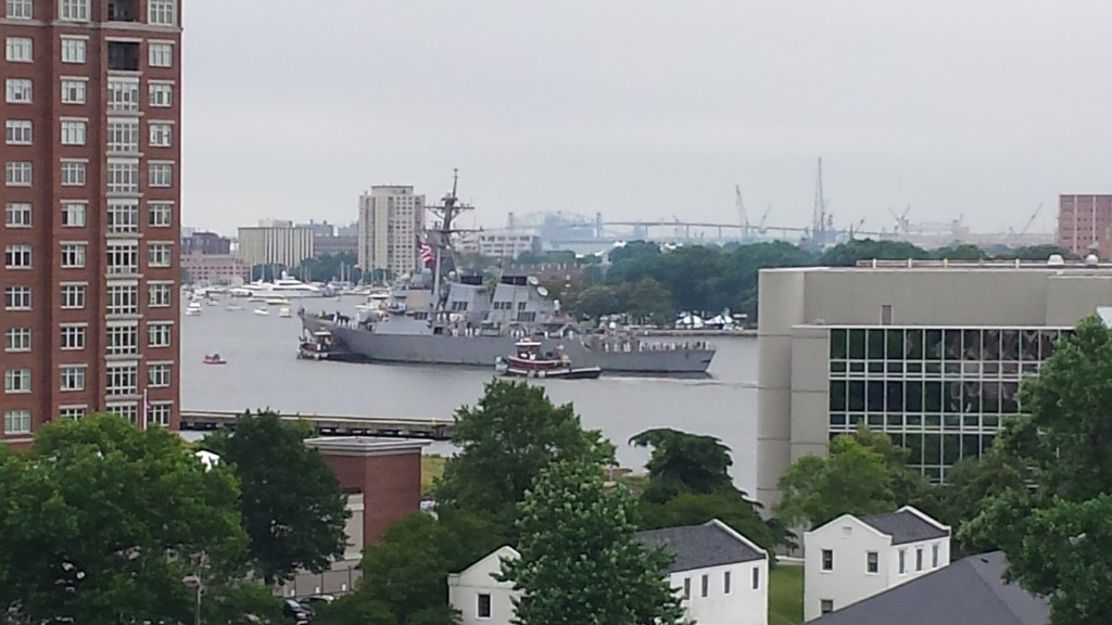 "USS MITSCHER in Norfolk's Harborfest""Parade of Ships"" & the American National Ensign with WW II War Veterans pennant proudly flying over Willoughby Spit at Norfolk on June 6, 2015 Photo  for THE CHESAPEAKE TODAY by  Alan V. Cecil"
