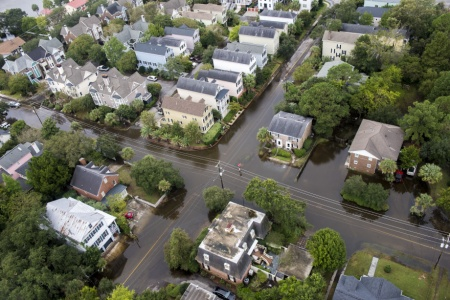 A Coast Guard overflight shows the continuing effects of flooding in Charleston, S.C. and surrounding areas, Oct. 5, 2015.