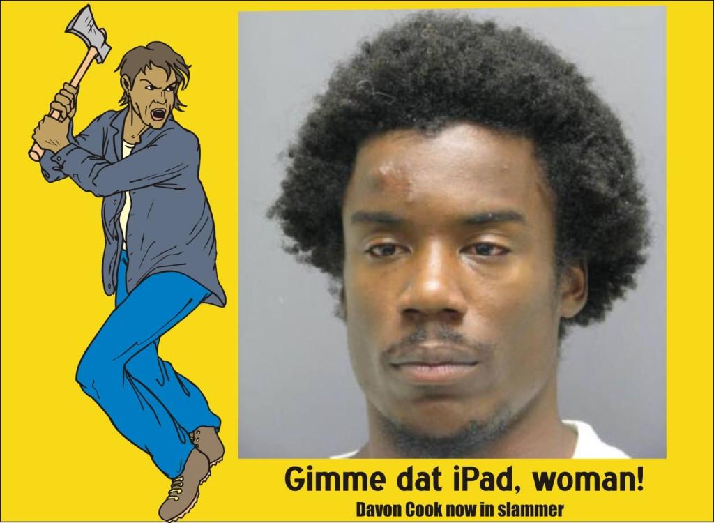 Davon Cook beat woman stole iPad fled on bike