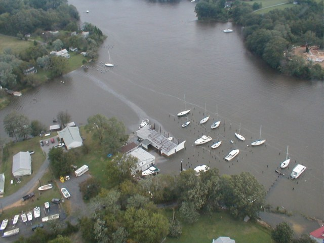 The covered slips of Combs Creek Marina in Compton were uncovered by the winds of Isabel.