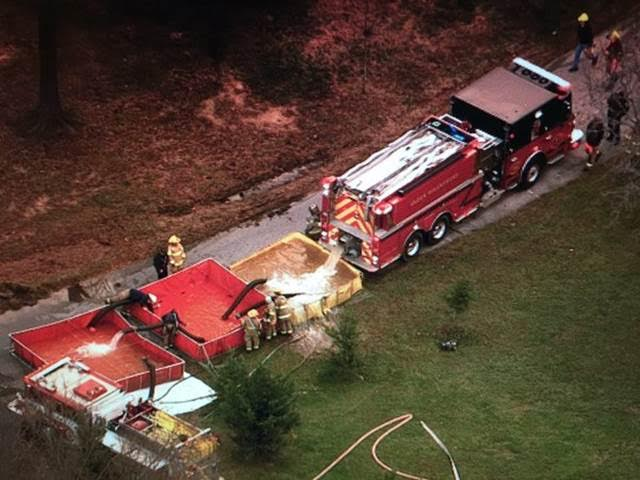 Water Tanker fills portable tank on Jamies Way. PGPD photo provided courtesy of Brad Freitas