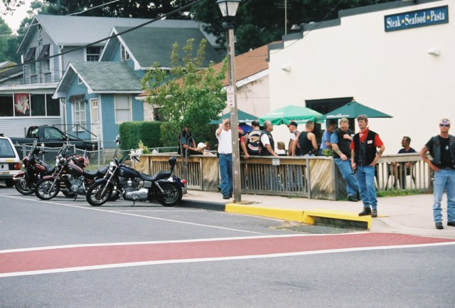 Hell's Angels in North Beach with showdown with Iron Horsemen and Pagans as they pursued a turf war. 2002 photo