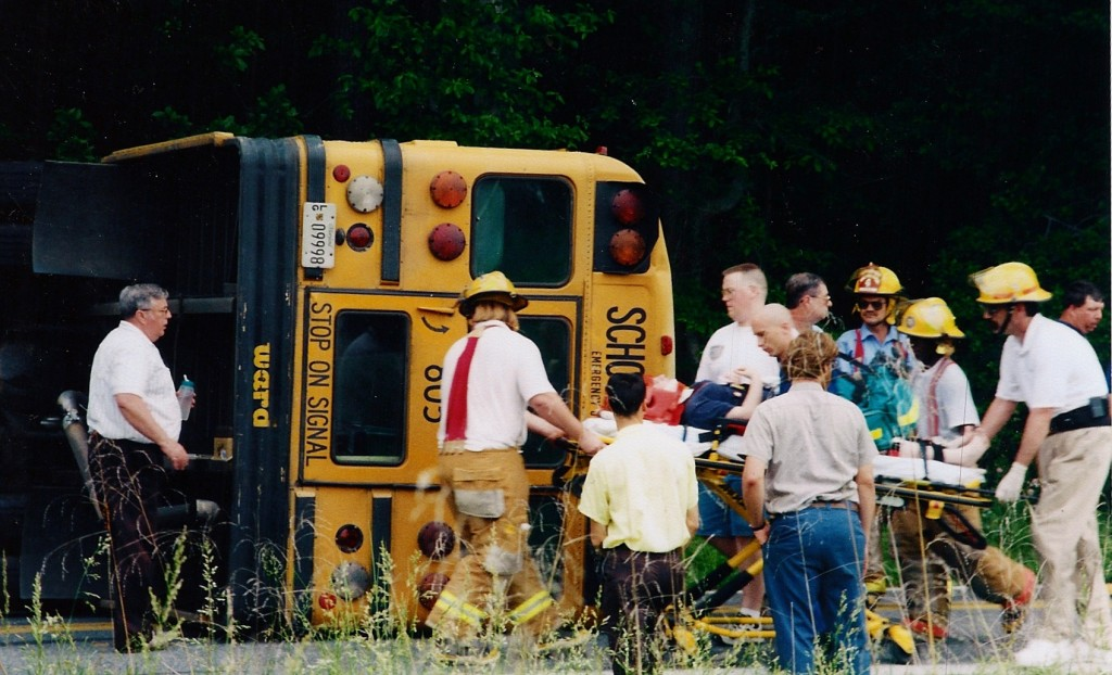 School Bus Wreck, Rt. 5 Point Lookout. Ridge firefighers removed injured students from crash when truck and bus sideswiped each other. All the politicians on the St. Mary's Board, Governors Schaefer, Glendenning, Ehrich and O'Malley all ignored the problem and legislators Dyson and Bohanan never fought to have the funding for the project included in the budget.
