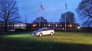 Troope Dermyer's patrol car on display at Virginia State Police headquarters.