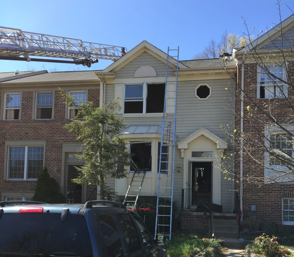 Two firefighters were injured in this townhouse fire in Riveria Beach. Photo courtesy of Anne Arundel Fire Department.