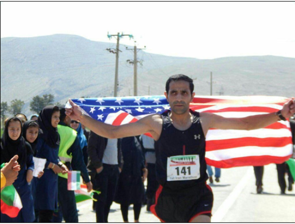 Iranian Runner with an American Flag.