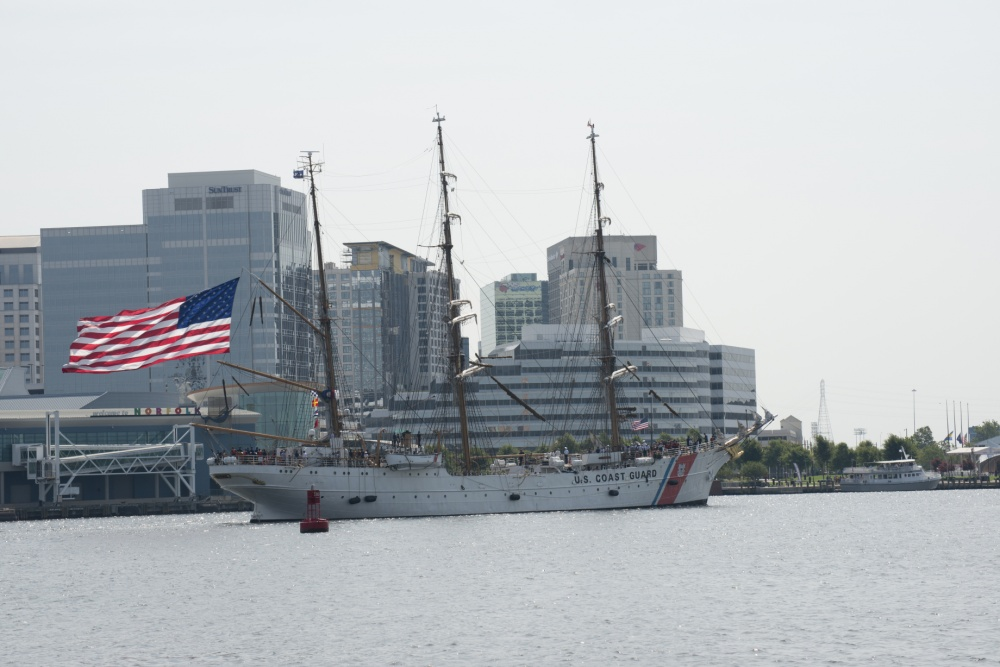 Coast Guard Cutter Eagle arrives in Norfolk, Virginia on July 22, 2016 Photo by Petty Officer 2nd Class Nate Littlejohn