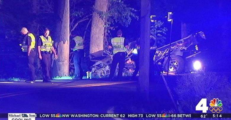 Jacob Dennis crash scene at Clarksburg Md. Photo courtesy of NBC 4 Washington