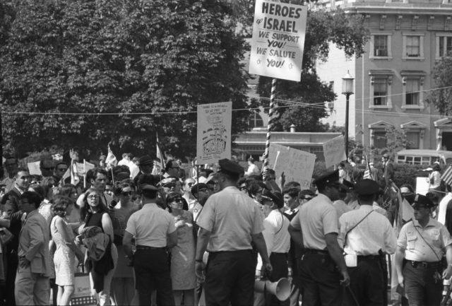 Six Day War demonstrations, June 8, 1967. LBJ Library