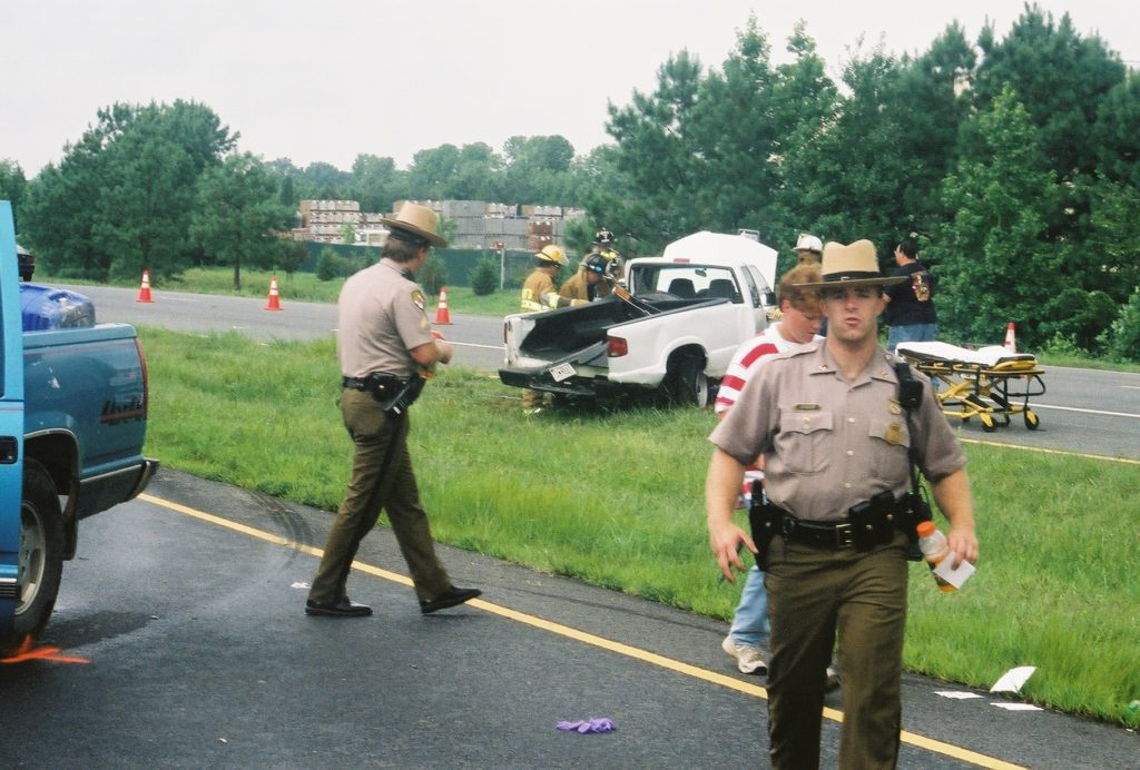 Detective Sgt. Jeff Linger at another crash scene. THE CHESAPEAKE TODAY photo