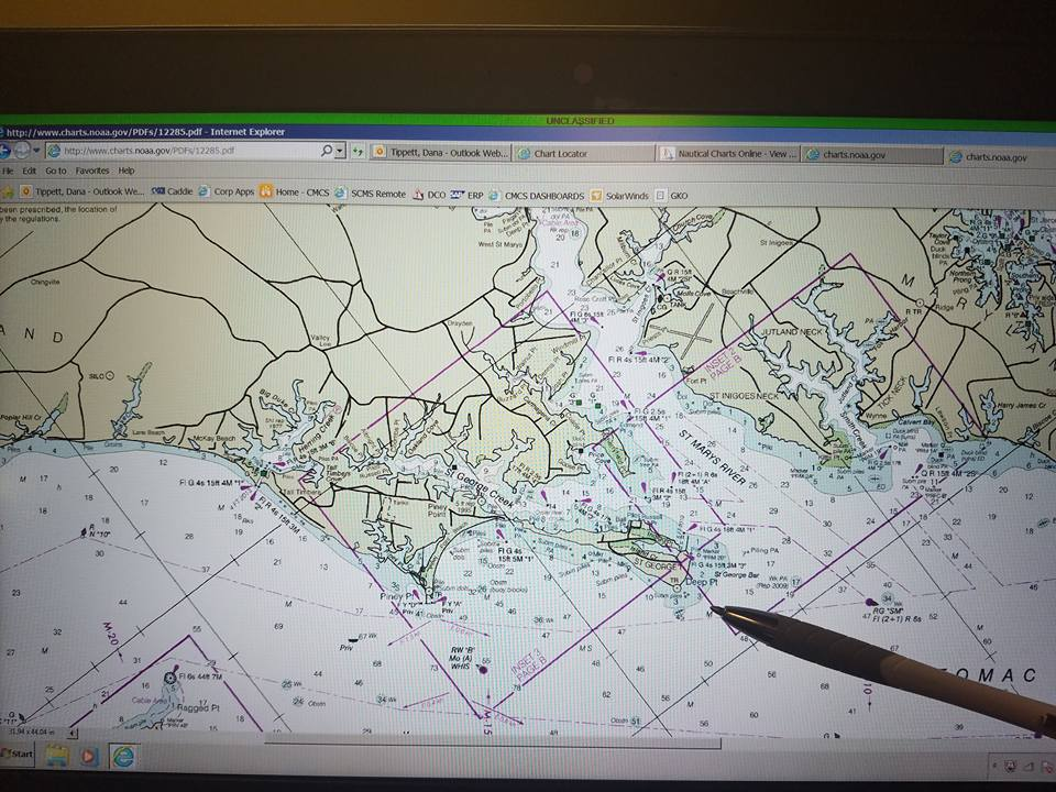 Chart of the area of the Potomac River -of-grid-search-for-missing-fisherman-Roger-Grissom