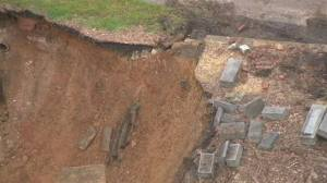 Cemetery in Baltimore slip slides away in record rainfall. Another good reason to be cremated. WBAL courtesy photo