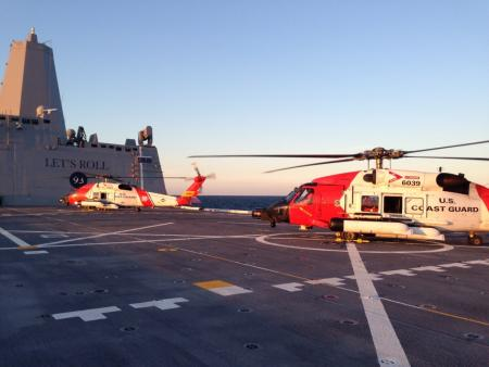 USS Somerset and Coast Guard chopper