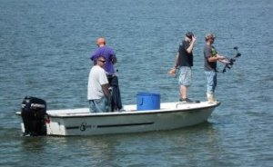 Bow fishing on the Potomac - targets skates and snakehead fish.  THE CHESAPEAKE TODAY