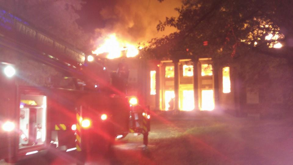 Fire destroyed the three-story main building at the former Bainbridge Naval Training Center near Port Deposit. Photo from Water Witch Fire Company.