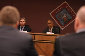 St. Mary's Sheriff Tim Cameron and Lt. Gov. Boyd Rutherford at heroin summit.