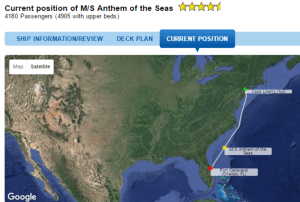 Scheduled itinerary of Anthem of The Seas