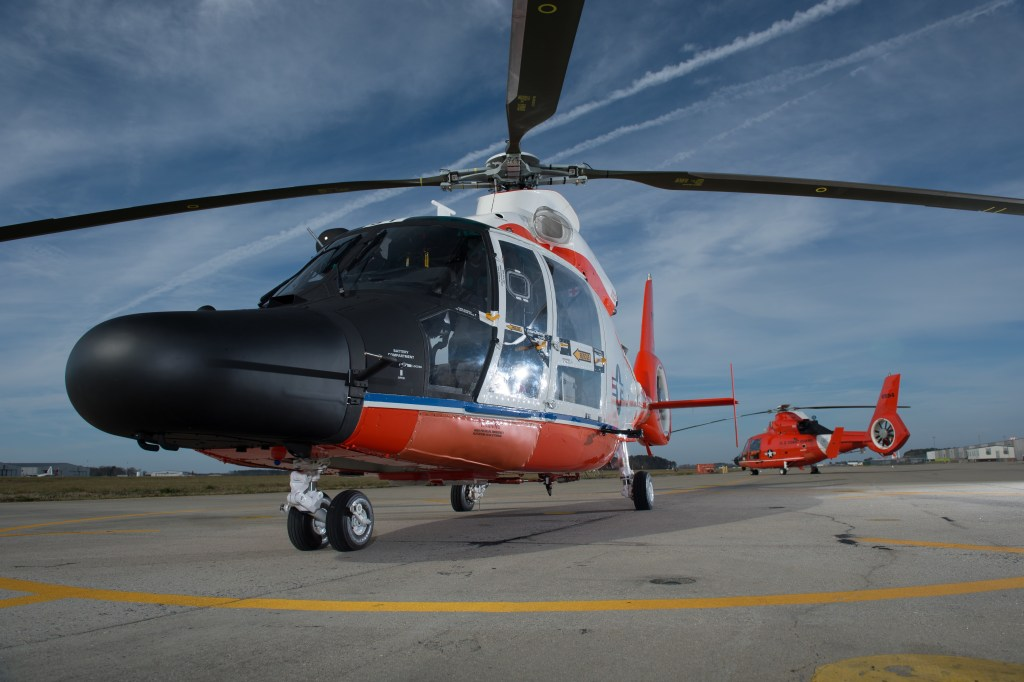 Coast Guard MH-60 Jayhawk helicopters stand ready at Air Station Elizabeth City Wednesday, March 10, 2016. Air Station Elizabeth City helicopter crews were at Kill Devil Hills to celebrate the centennial anniversary of the Coast Guard's aviation program with formation flights and a classic painting scheme. (U.S. Coast Guard photo by Auxiliarist David Lau)