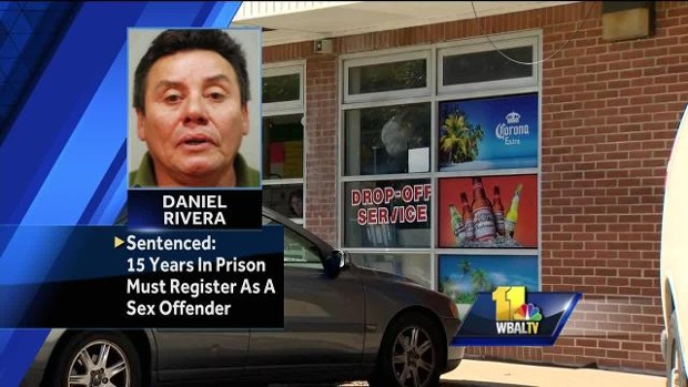 WBAL photo of laundromat and restaurant where rape took place