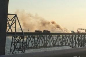 A truck on fire in another crash on the Chesapeake Bay Bridge in 2015. WJlA photo