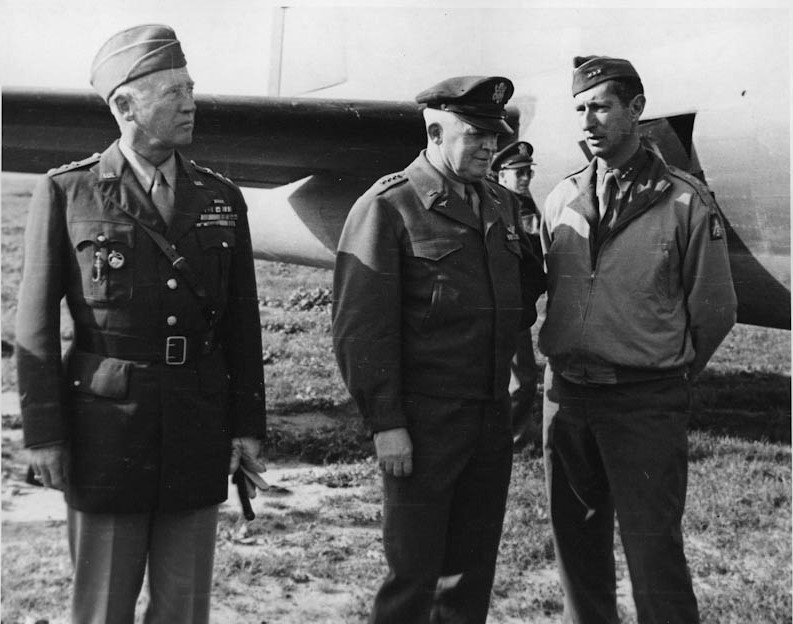 From left to right, Lieutenant General George Patton, General Henry Hap Arnold, and Lieutenant General Mark Clark in Sicily.. Dec. 8, 1943
