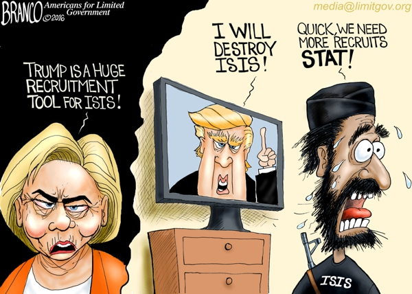 Hillary says Trump is a recruitment tool for ISIS