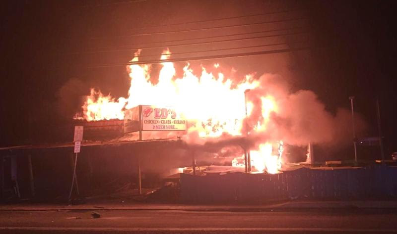 Ed's Chicken & Crabs fire caused by driver of 2013 Mini Cooper Beach News 081516 photo courtesy of Cpl. Lynch Dewey Police