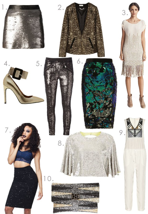 Glitter and Sparkles, Sequin tops, Sequin Skirts, Fringe Dress, Jeffery Campbell, Jeffery Campbell Shoes, Gold Heels, Sequin Clutch, Sass and Bide, Babes and Felines, Sequin Blazer, Crop Top, Top Shop, Sequin Legging, Sequin Pants, New Years Eve Wardrobe, New Years Eve Outfits, New Years Eve Clothes