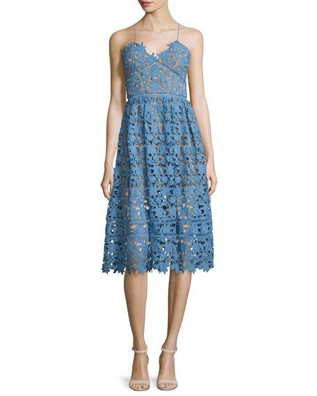 Self Portrait Azaelea Guipure-Lace Illusion Dress, Blue, Fashion trends 2016, 2016 fashion trends, fashion trend 2016, trends for 2016, spring summer 2016 trends, trends 2016, 2016 fashion trend, 2016 trends, trend 2016, spring summer 2016, fashion 2016