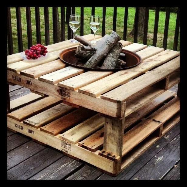 pallet fire pit table