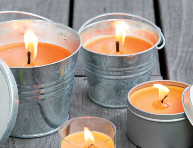 citronella candles in buckets