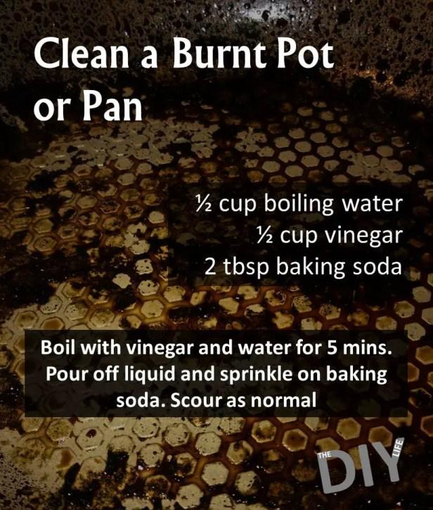 clean a burnt pot or pan