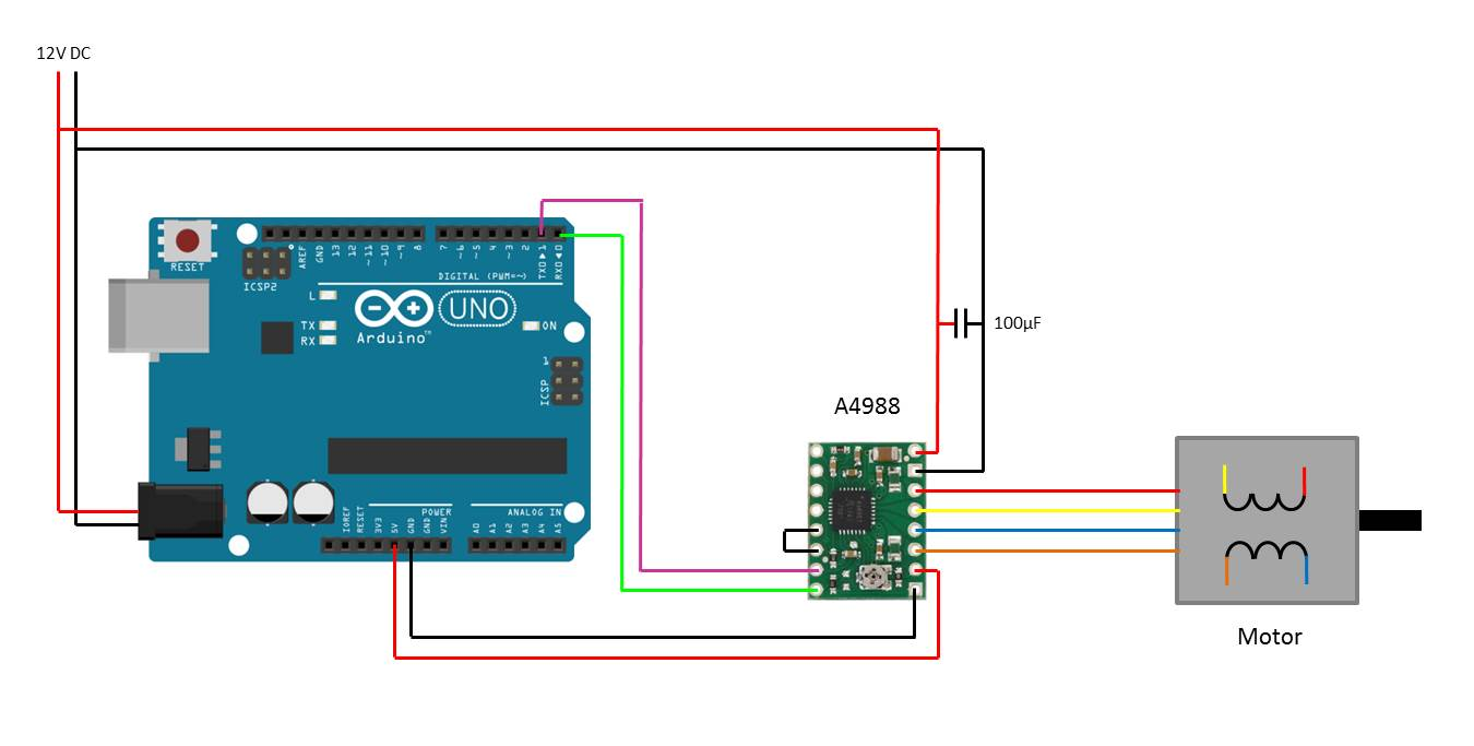 arduino stepper motor circuit diagram 1 arduino stepper motor control, using pololu driver the diy life a4988 wiring diagram at crackthecode.co