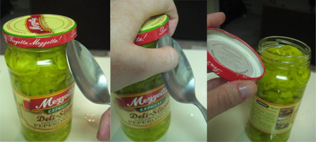 A spoon to open a tight jar