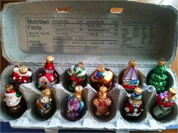An egg carton to keep your christmas ornaments