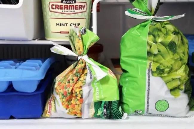 Tie up bags of frozen veggies using the cut strip