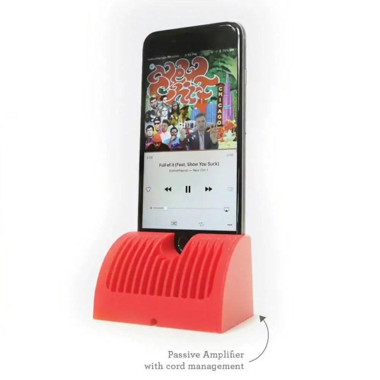iPhone charging dock and passive speaker
