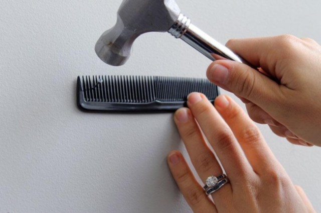 use a hair comb to hold nails
