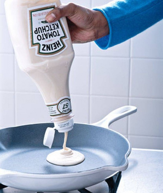 use a ketchup bottle as a pancake batter holder