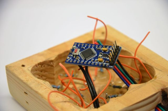 arduino soldered to the electronics