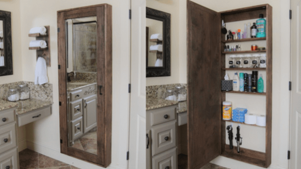 build a storage cabinet behind your bathroom mirror