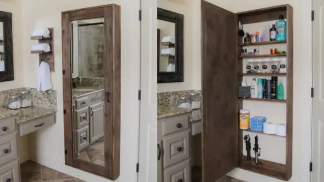 build a storage cabinet behind your bathroom mirror