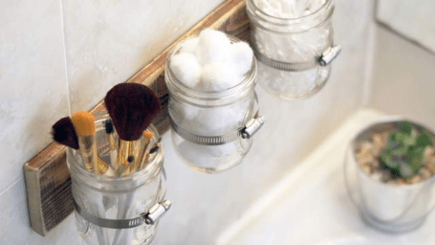 mount mason jars above the sink