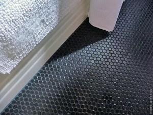 black matte floor tiles