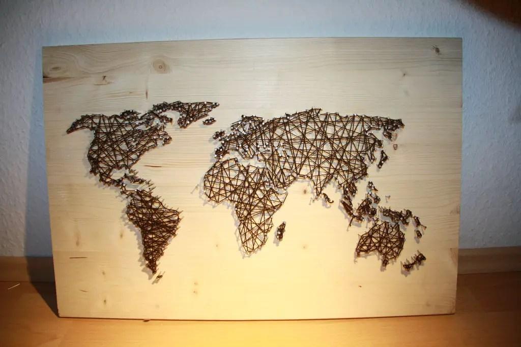 string art world map   The DIY Life