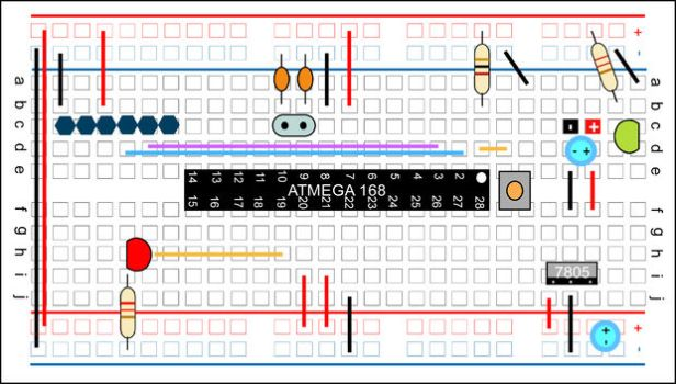 building your own arduino - breadboard layout